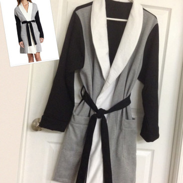 Sweater Knit Colorblock Robe