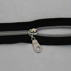 Nylon Zipper Black With Silver Teeth