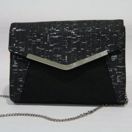 Black and Silver Cork Clutch